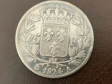5 Francs Louis XVIII Buste Nu 1824 A Paris TB  2nd Gouvernement Royale