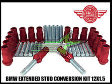 BMW EXTENDED STUD CONVERSION KIT 12X1.5 | 57MM + 20 RED ALUMINUM TUNER LUG NUTS
