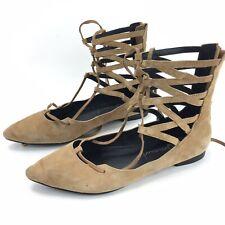 ce802de0b768 Jeffrey Campbell Women s Shay Suede Lace Up Sandal Flats Retail  130 size 6