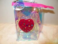 Betsey Johnson Red Jewelled Mirror Compact New Iridescent Zip Pouch 60% OFF