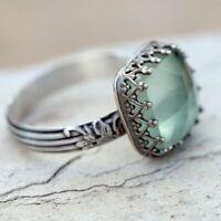 Women 925 Silver Gemstone Vintage Peridot Vintage Moonstone Wedding Ring Sz 6-10