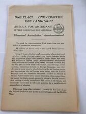 1925-Propaganda Leaflet-.National Americanization Committee-One Country/Flag