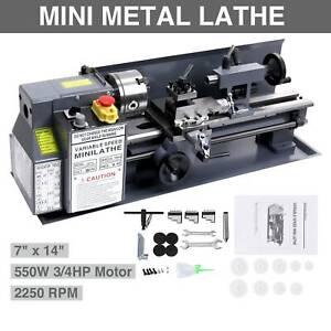 Mini Metallo Rotante Tornio Lathe Macchina Lavorazione Legno Metal Banco 18x35CM