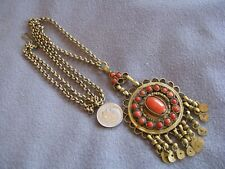 Vintage Ethnic Natural Red Coral Bead Cabochon Pendant Necklace
