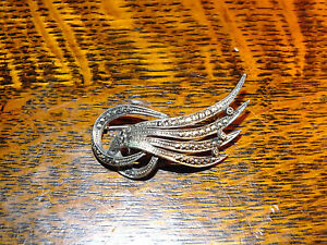 Antique Sterling Silver  Marcasite Brooch Germany