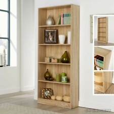 5-Shelves Tall Bookcase Display Storage Wooden BookShelf Home Office MagzineRack