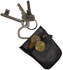 kleine LEDER Schlüsselglocke - schwarz - Spangen Schlüsseletui Schlüsseltasche