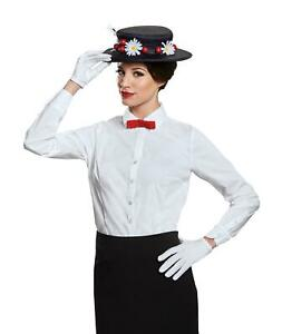 Mary Poppins Disney Adult Accessory Costume Kit Hat, Gloves and Bow Tie