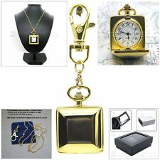Gold Plate Square Design with MOP Ladies Pendant Watch Quartz Necklace Gift  L04
