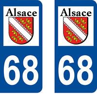 Département 68 sticker 2 autocollants style immatriculation AUTO PLAQUE