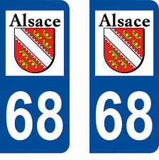 Département 68 sticker 2 autocollants style immatriculation AUTO PLAQUE