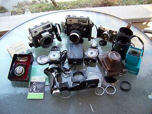Box of cameras/lenses! Koni Omega, Walz 35S, Minolta auto meter's, 135mm Xenar