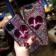 F iPhone 11 Pro Max 8 Plus 7 XS Max XR Bling Glitter Heart Cute Phone Case Cover