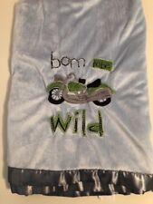 Bean Sprout Born To Be Wild Motorcycle Baby Boy Blanket Plush Blue Gray Vguc
