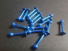 Per Labbra Piercing Gioielli Titanio 18g 12mm Totale 3mm Sfera Blu Colore Bite