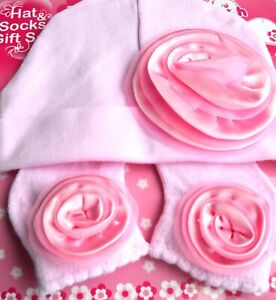 NEW Soft Touch Pink flower baby hat and sock set 0-3months