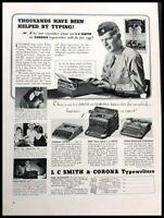 1940 Smith Corona Typwriter Vintage Advertisement Print Art Ad Poster LG89