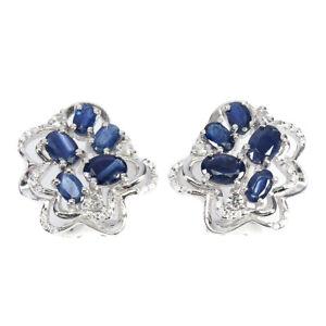 Heated Oval Blue Sapphire Kanchanaburi 6x4mm Cz 925 Sterling Silver Earrings