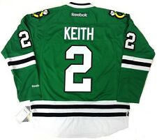 DUNCAN KEITH CHICAGO BLACKHAWKS GREEN ST PATRICK'S DAY REEBOK JERSEY