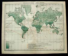 1893.Mappa Geo-Topografica.ANTICA MAPPA DELLE PIOGGE NEL MONDO.Brockhaus.ETNA