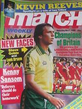 Match weekly magazine soccer 01/11/1980 Poster Alan Brazil Ipsich Town