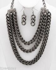 Oversize Gunmetal Chain Gang Necklace & Earring Set Prisoner Big Huge Halloween