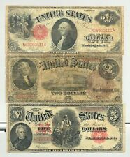 $1 Series 1917, $2 Series 1880 and $5 Series 1907 Woodchopper United States Note