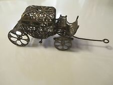 Antique  silver engraved details hand made miniature horse carriage wheels move