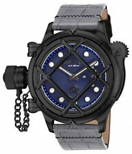 Invicta 16352 Mens Blue Dial Analog Mechanical Watch With Leather Strap