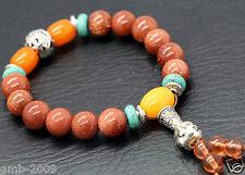 10mm Natural Gold Sand Stone Buddha Tibet Buddhist Prayer Beads Mala Bracelet