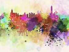 PAINTING ABSTRACT CITYSCAPE HONG KONG PAINT SPLASH SKYLINE POSTER PRINT BMP10723