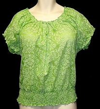 New 2X (18W-20W) Green CATO Cap Sleeve SMOCKED PEASANT Top Comfort Stretch COTTO