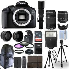 Canon EOS 2000D / T7 DSLR Camera + 5 Lens Kit: 18-55mm + 75-300mm + 500mm & More