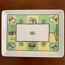 HERMES AFRICA PORCELAIN PLATE ASHTRAY GREEN ELEPHANT MONKEYS ZEBRAS