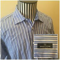 Bugatchi Uomo Mens Blue Striped Long Sleeve Button Down Flip Cuff Size Large EUC
