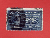 Scott # E4... 10c Unwatermarked Special Delivery (#30 In Grid Cance) Cat. 110.00