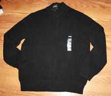 NWT Mens CALVIN KLEIN Black 1/4 Zip Ribbed Heavy Sweater Sz M Medium