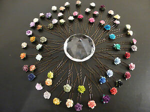 6 ROSE HAIR PINS GRIPS FLOWER WEDDING BRIDESMAID ACCESSORIES ALL COLOURS
