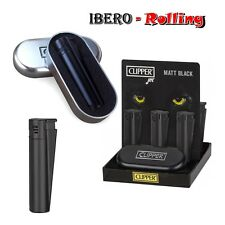 Encendedor Clipper metal Matt Black Jet caja negra, regulable, recargable, 2 und