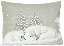 Cubierta Cojín Osos Polares Invierno Nieve Impreso Navidad Tela Impresa Rectangular