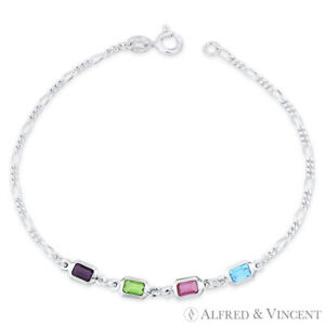Purple Green Pink Blue CZ Crystal Figaro Italy Chain .925 Sterling Silver Anklet