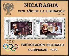 Nicaragua 1980 Albert Einstein Mahatma Gandhi Olympiade Block 113 MNH/1002