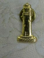 Vintage Lighthouse Pin Brooch Gold Tone Metal Nautical Ship Metal
