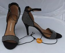 NEW Atmosphere Black Faux Suede Sandals with Diamante & Ankle Strap Size 4/37
