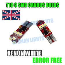 * 2X CANBUS 501 9 SMD LED Bombillas De Matrícula SIDELIGHTS Blanco T10 W5W 6000k