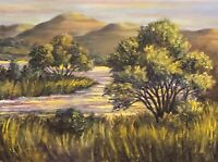 Wall Art Large 24 x 18 Original Oil Painting Landscape River Badlands Western