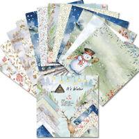 12X Xmas Paper Pad Snowflake Scrapbooking Card Single Side Photo Album Diary DIY