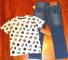 True Religion Authentic Kids Boys Brand New Set Dress T-Shirt + Jeans Sz 4T, Nwt