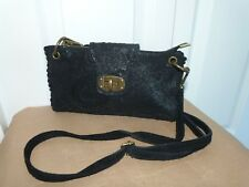 Ladies Black Leather Paisley Design Small Clutch/Cross Body Bag