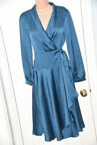 RAIL 1 29 - Lovely silky satiny crossover dress, UK 14, BN, cd friendly